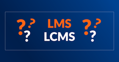 Image displays the acronyms LMS and LCMS surrounded by question marks.