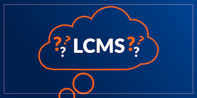 Illustration of a thought bubble with text LCMS and question marks.