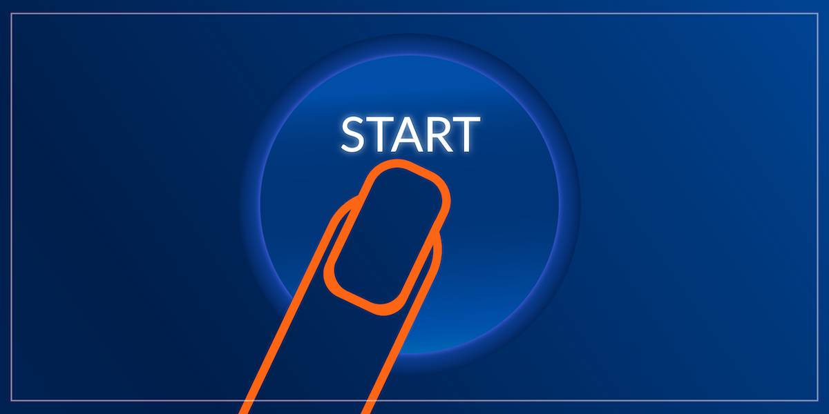Illustration of a woman's finger pushing a Start button.