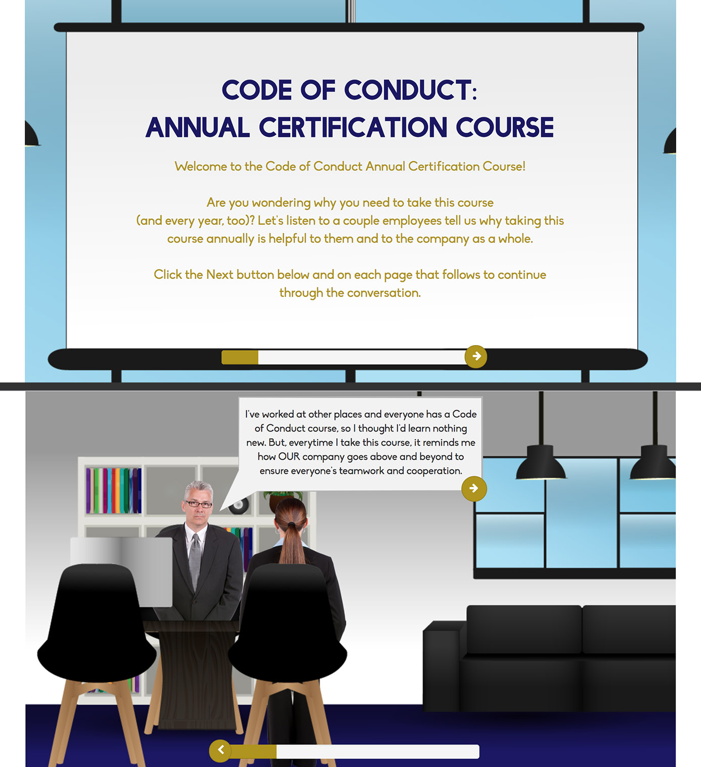 Code of Conduct Annual Certification screenshots
