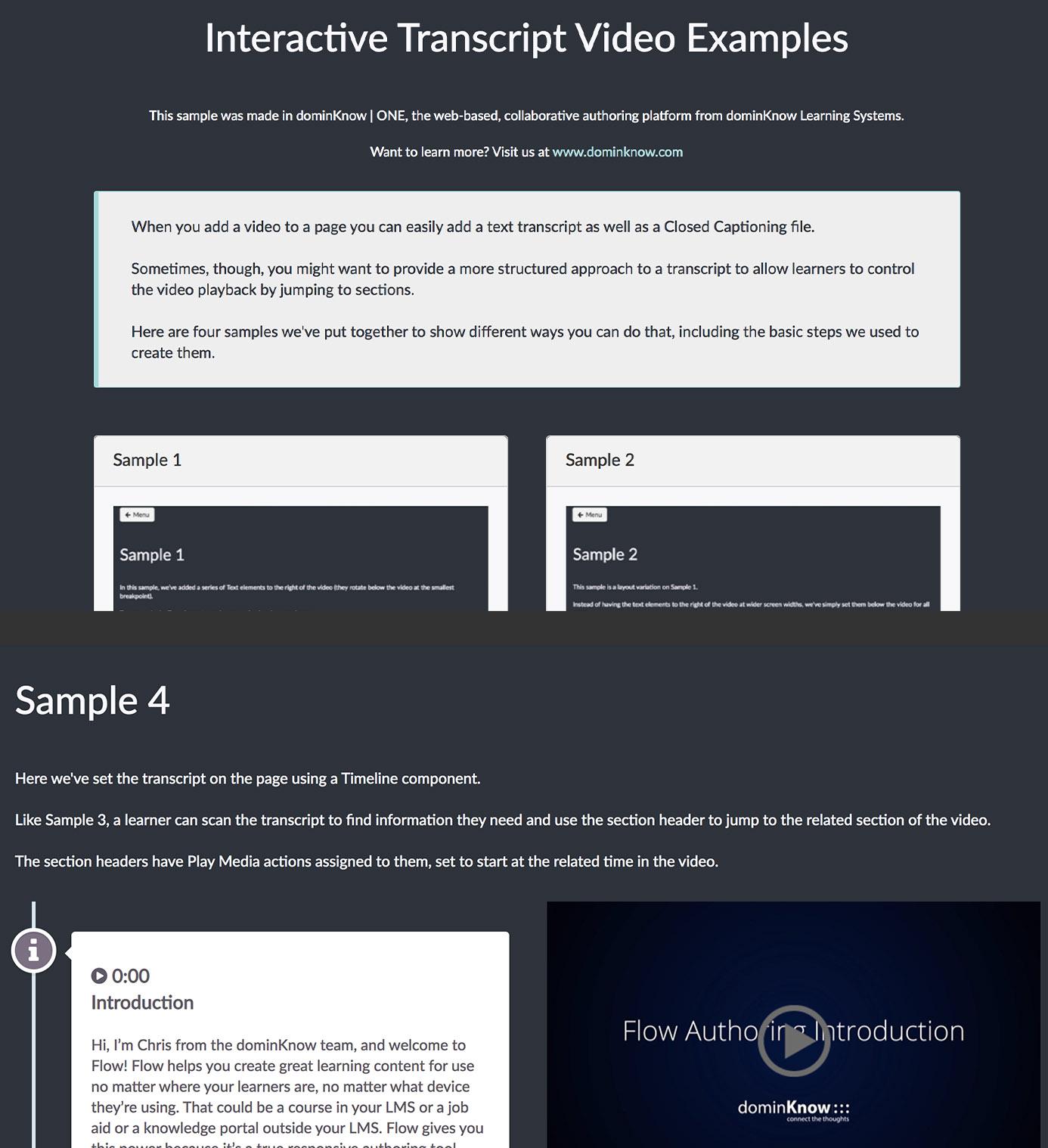 Interactive Transcript Video Examples screenshots