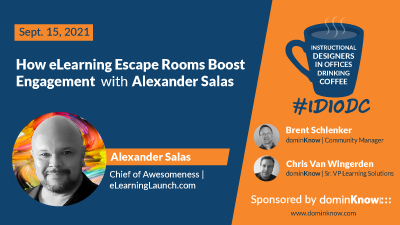 September 15, 2021 Alexander Salas joins Instructional Designers in Offices Drinking Coffee.