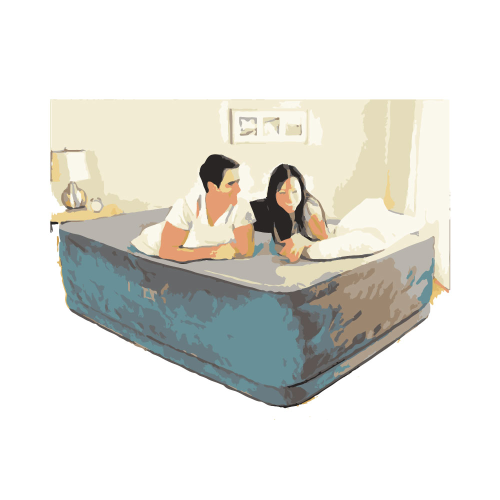 Couple laying on Intex Comfort Plush