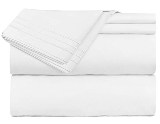 Nestl Bedding Queen Size Bed Sheets Set White, Bedding Sheets Set