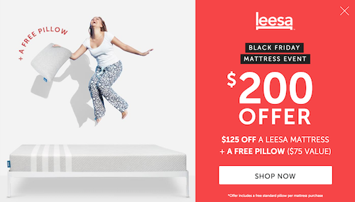 Leesa Black Friday Deal Card