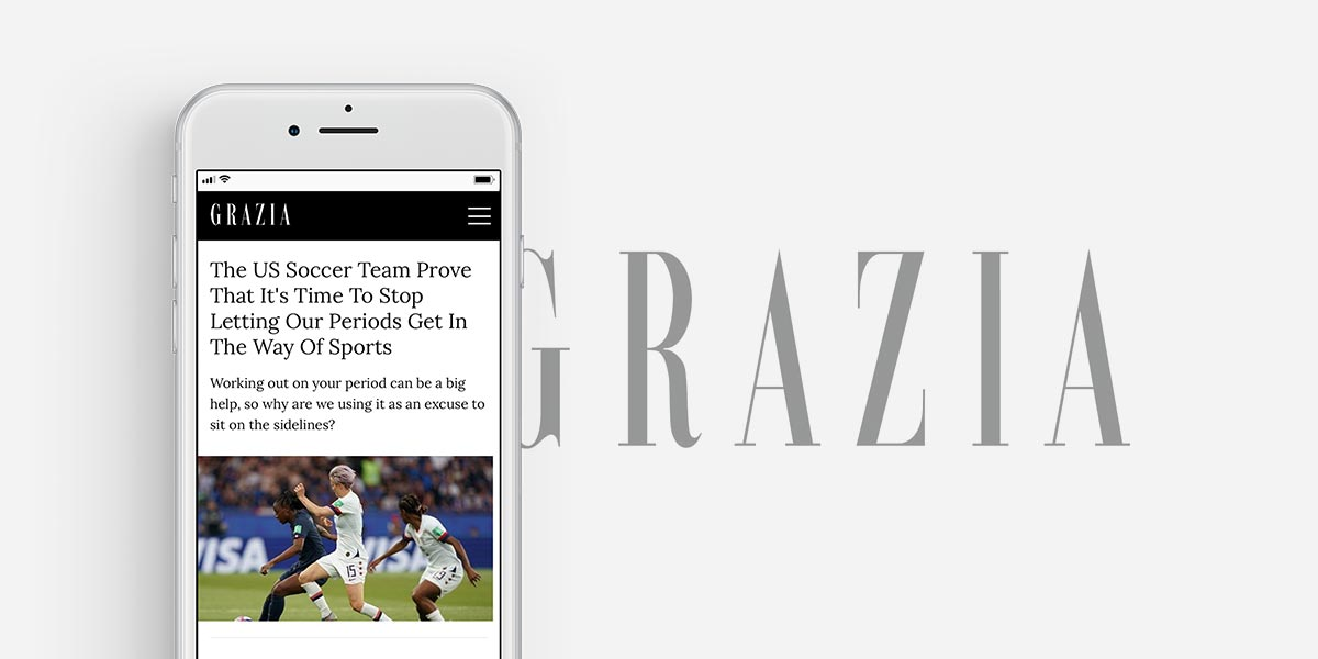 Grazia article on US Women's Soccer Team using FitrWoman period and fitness app