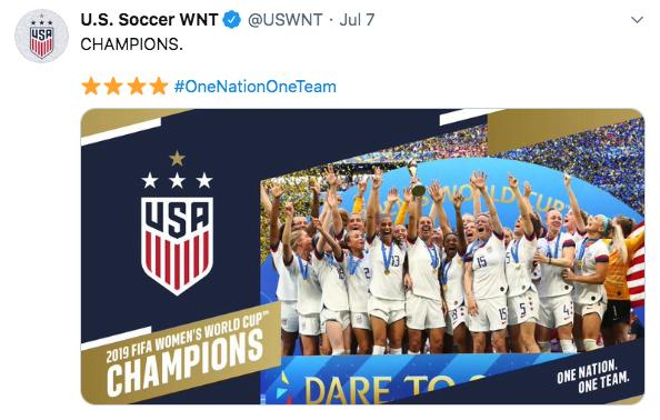 Tweet of US Women's Soccer Team winning the World Cup