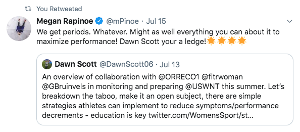 Tweet by Megan Rapinoe about how FitrWoman helps her play sport with a period