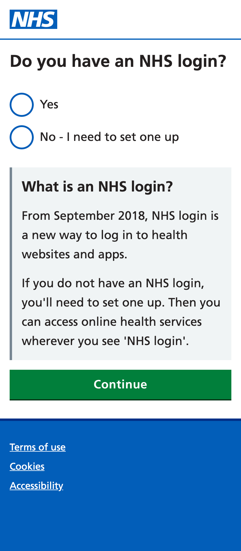 do you have an NHS login screen