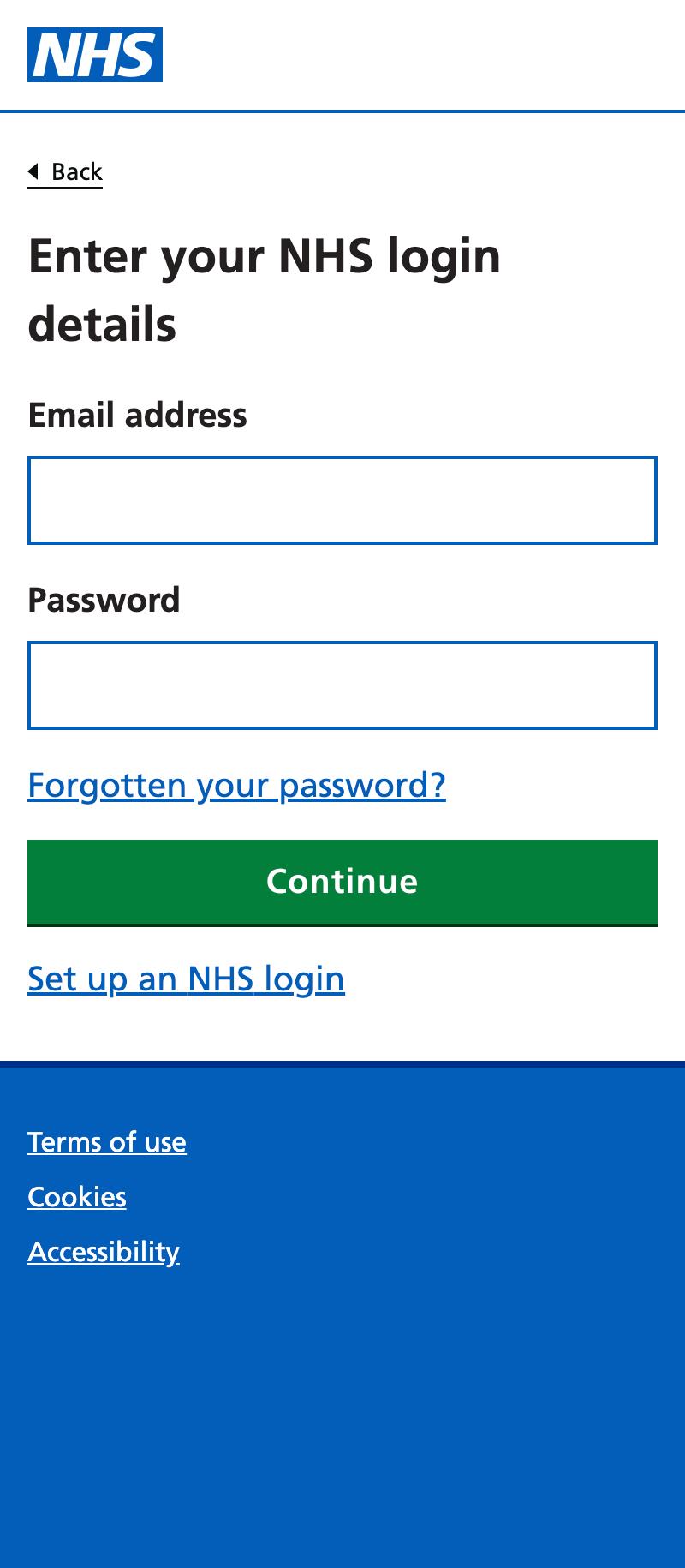 mid-registration login screen