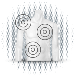Drawing of male torso with target circles