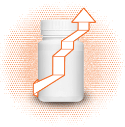 Drawing of pill bottle with upward arrow