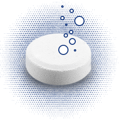 Tablet with bubbles floating up from it