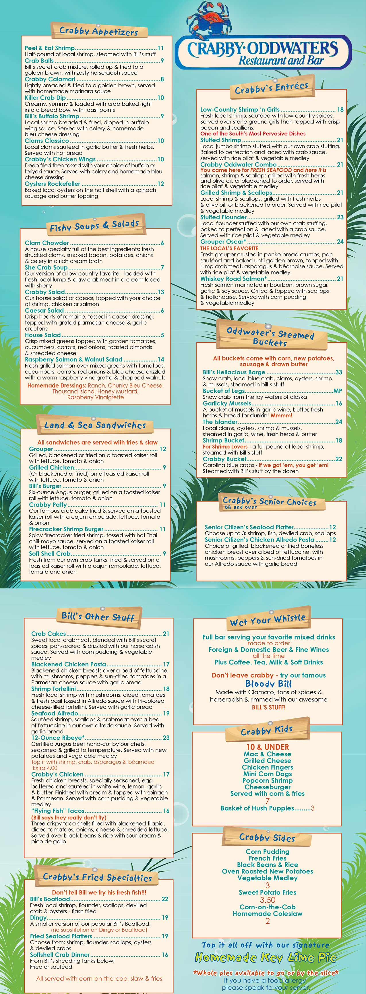 Crabby Oddwaters Menu