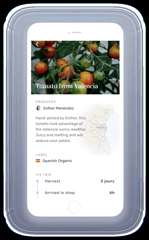 Food traceability iPhone Mockup - Greg Jeanneau