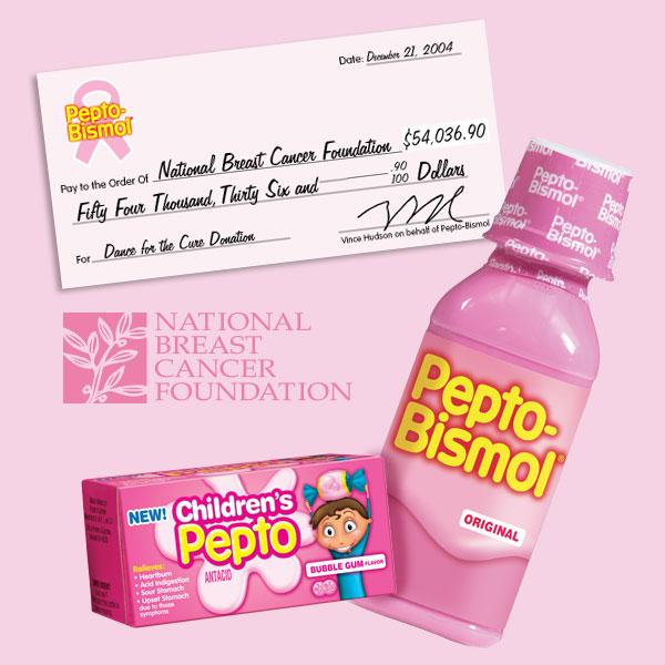 Pepto Bismol charity graphic