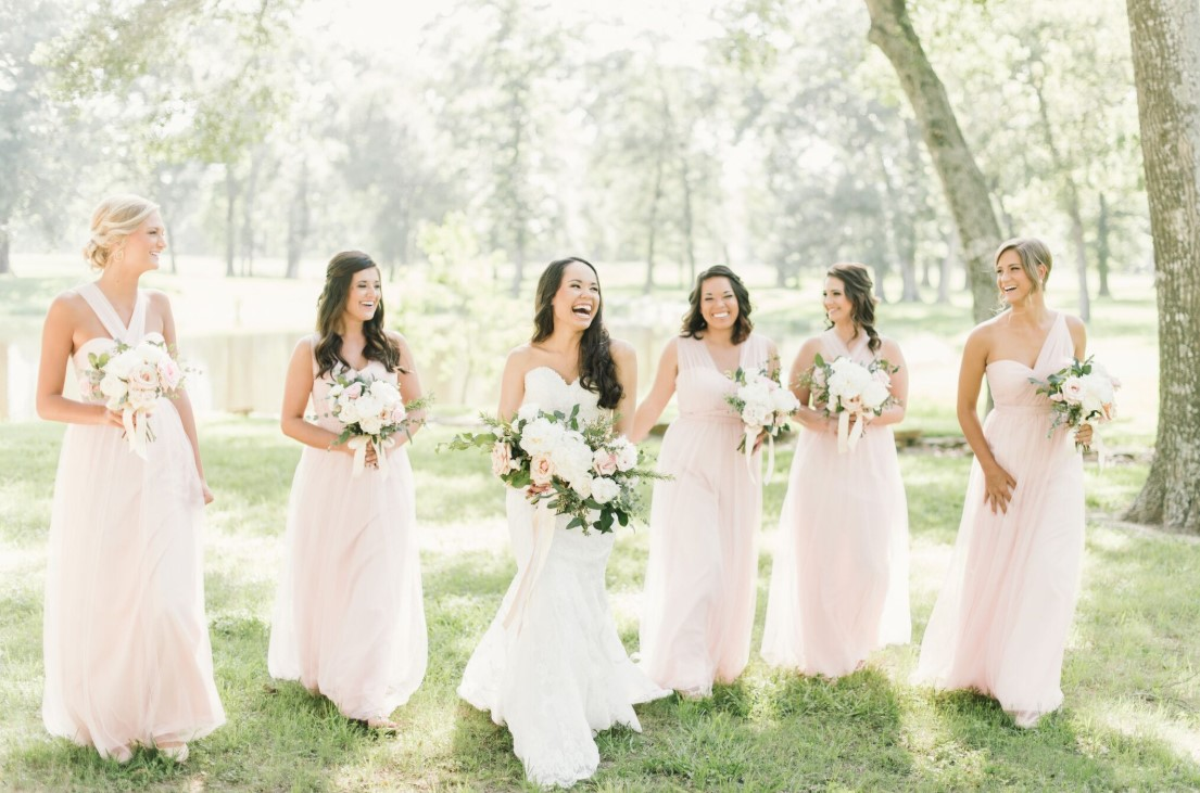 The bride and her beautiful bridesmaids
