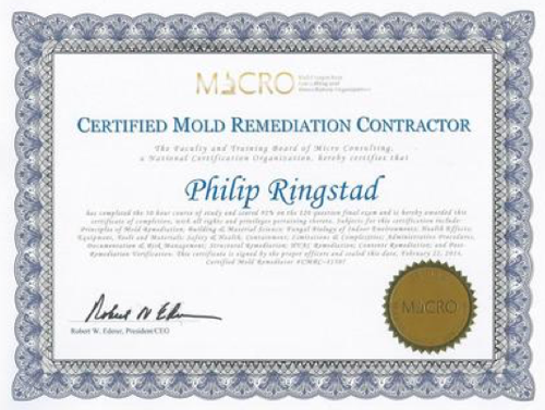 we are certified in mold remediation