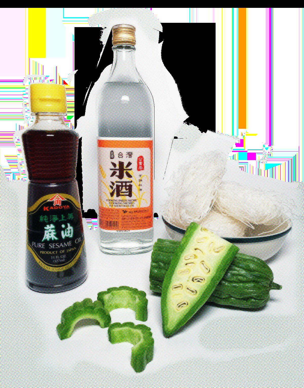 sesame oil, Taiwanese rice wine, rice noodles, bitter melon meal starter kit