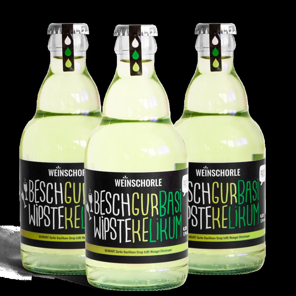 3x Gurke-Basilikum-Weinschorle