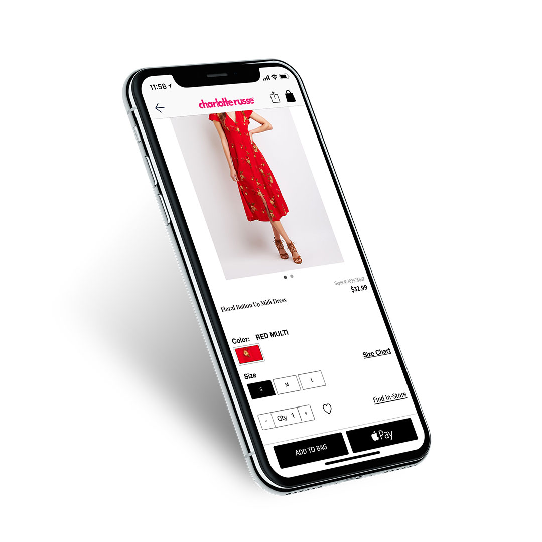 Charlotte Russe Shopping App with Native Apple Pay Checkout