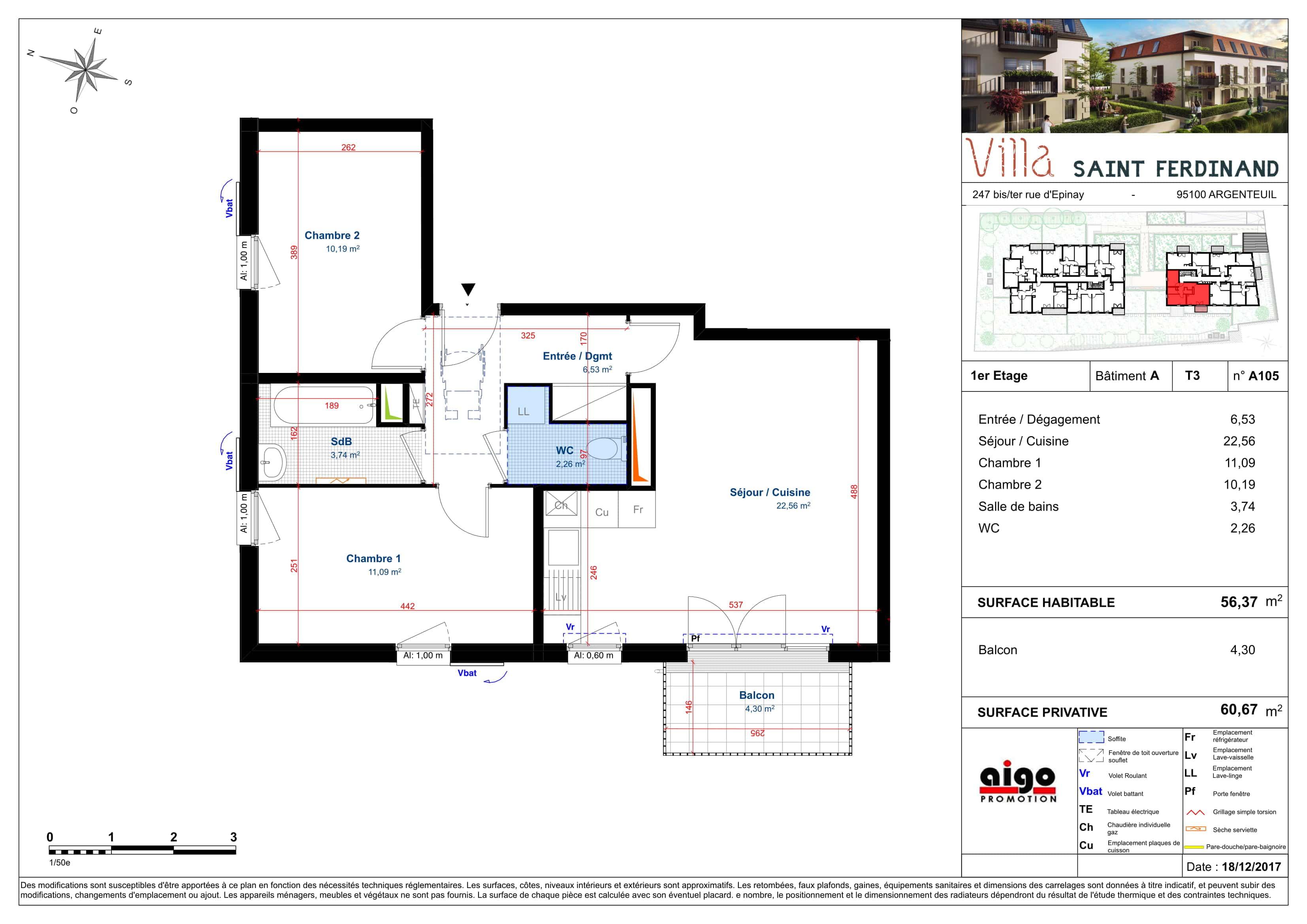 A105 : T3 programme immobilier argenteuil