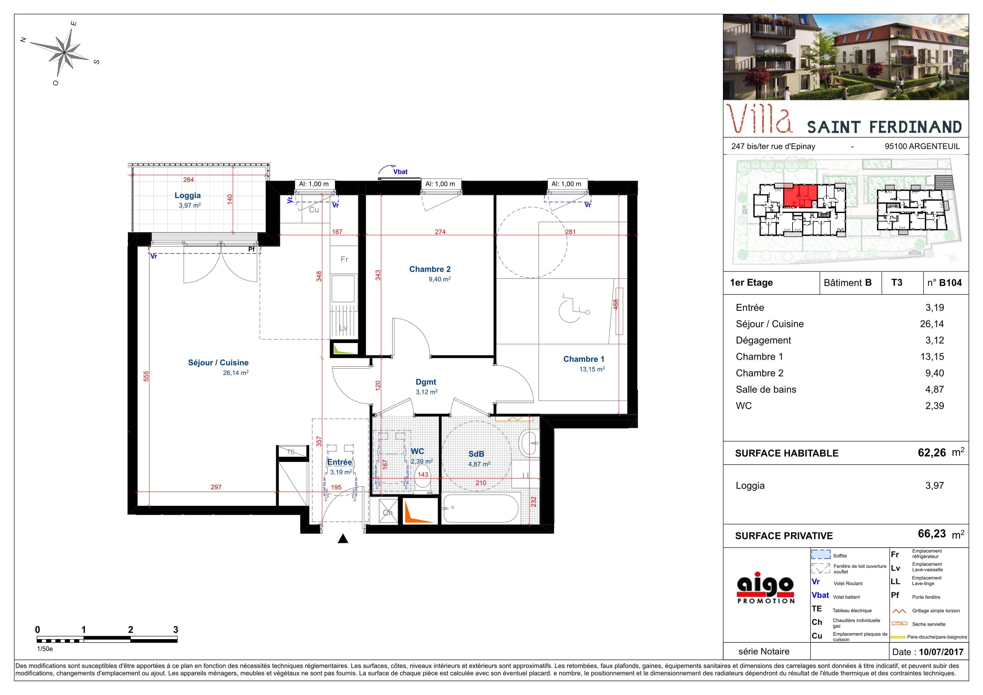 B104 : T3 programme immobilier argenteuil
