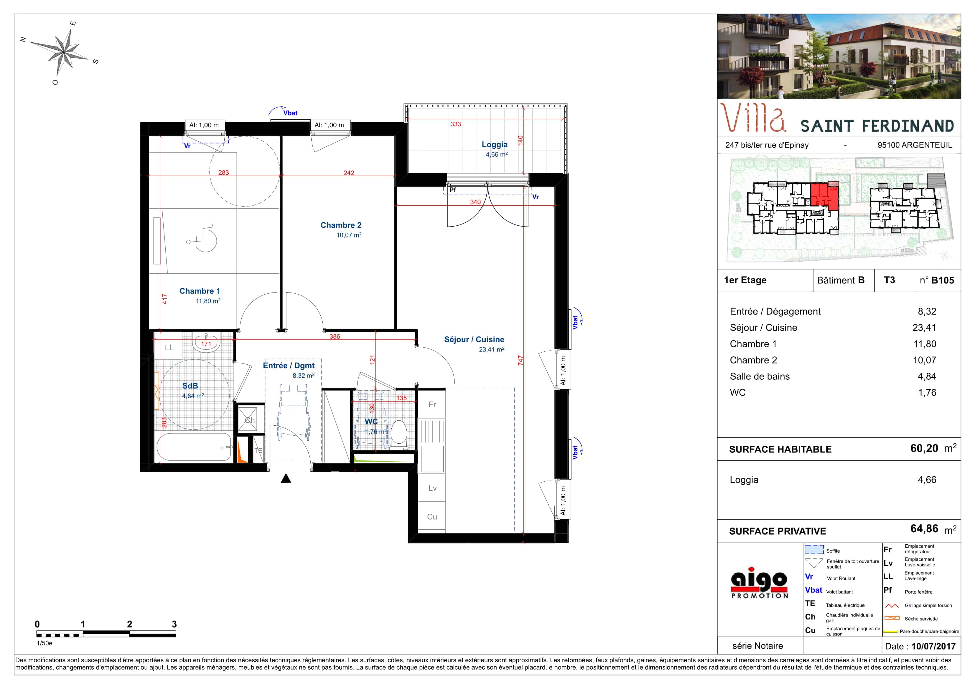 B105 : T3 programme immobilier argenteuil