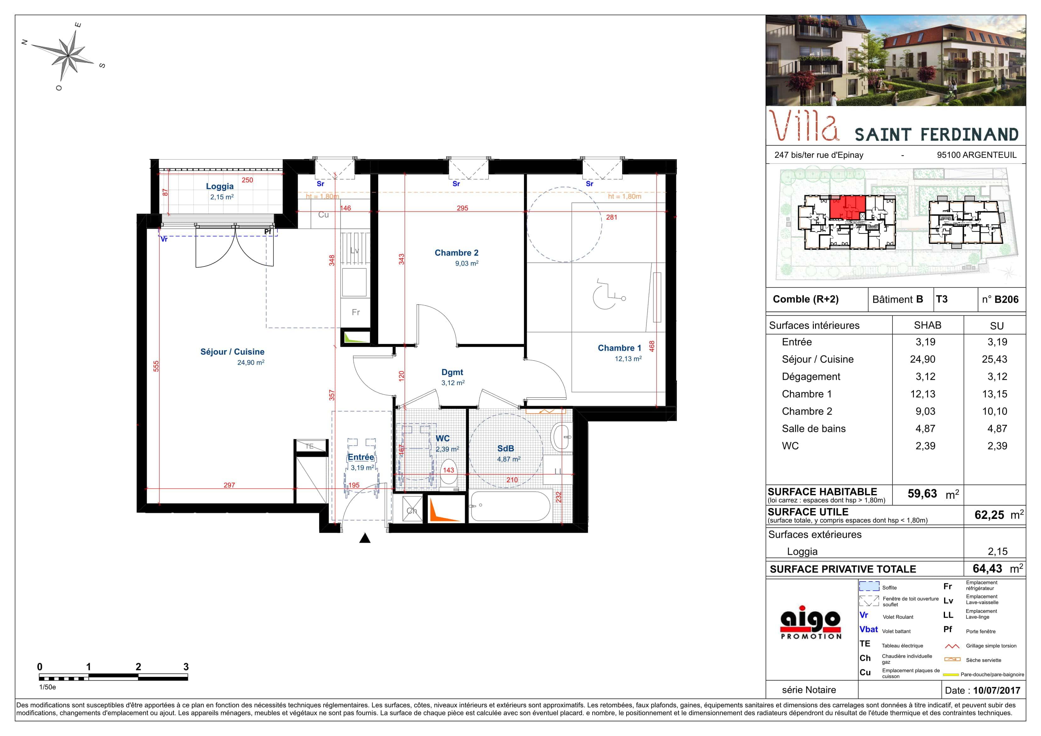 B206 : T3 programme immobilier argenteuil