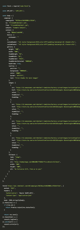 Rebel API Code Snippet
