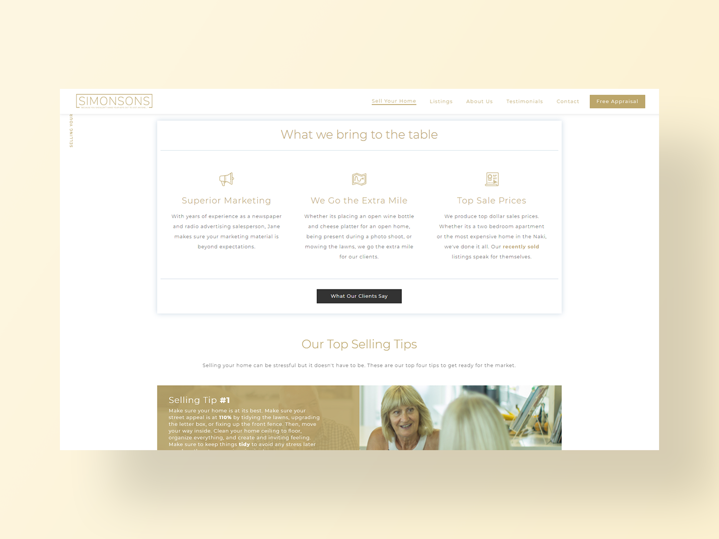Team Simonsons sell your home page
