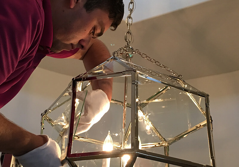 Cleaning Inside of Glass Chandelier