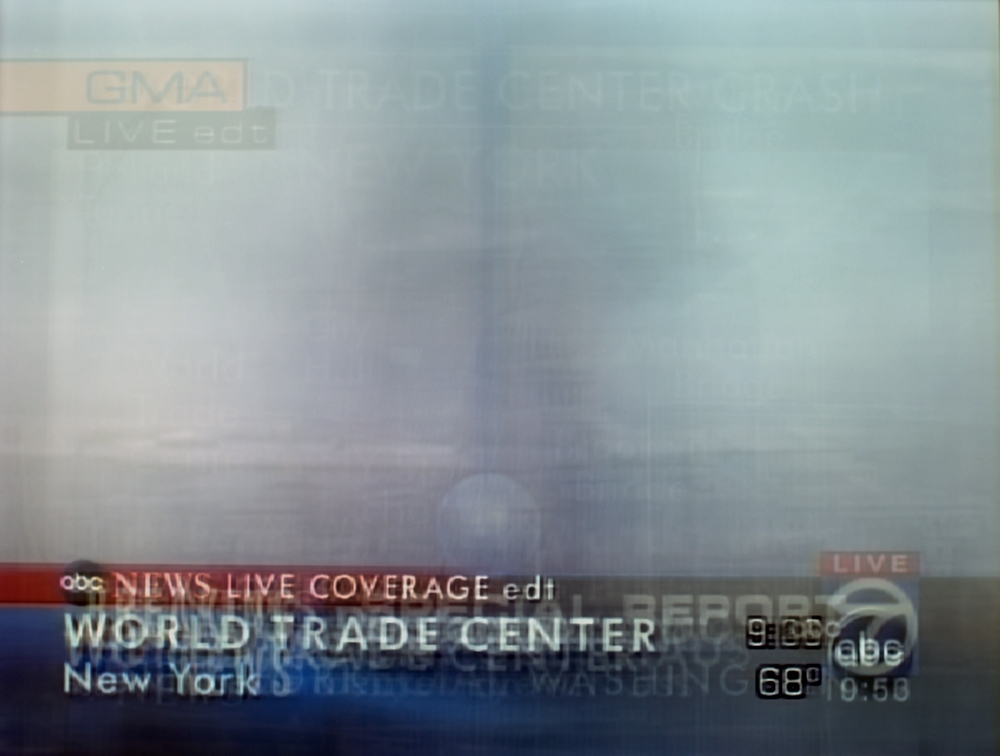 Long exposure photograph of coverage of 9/11 on ABC News
