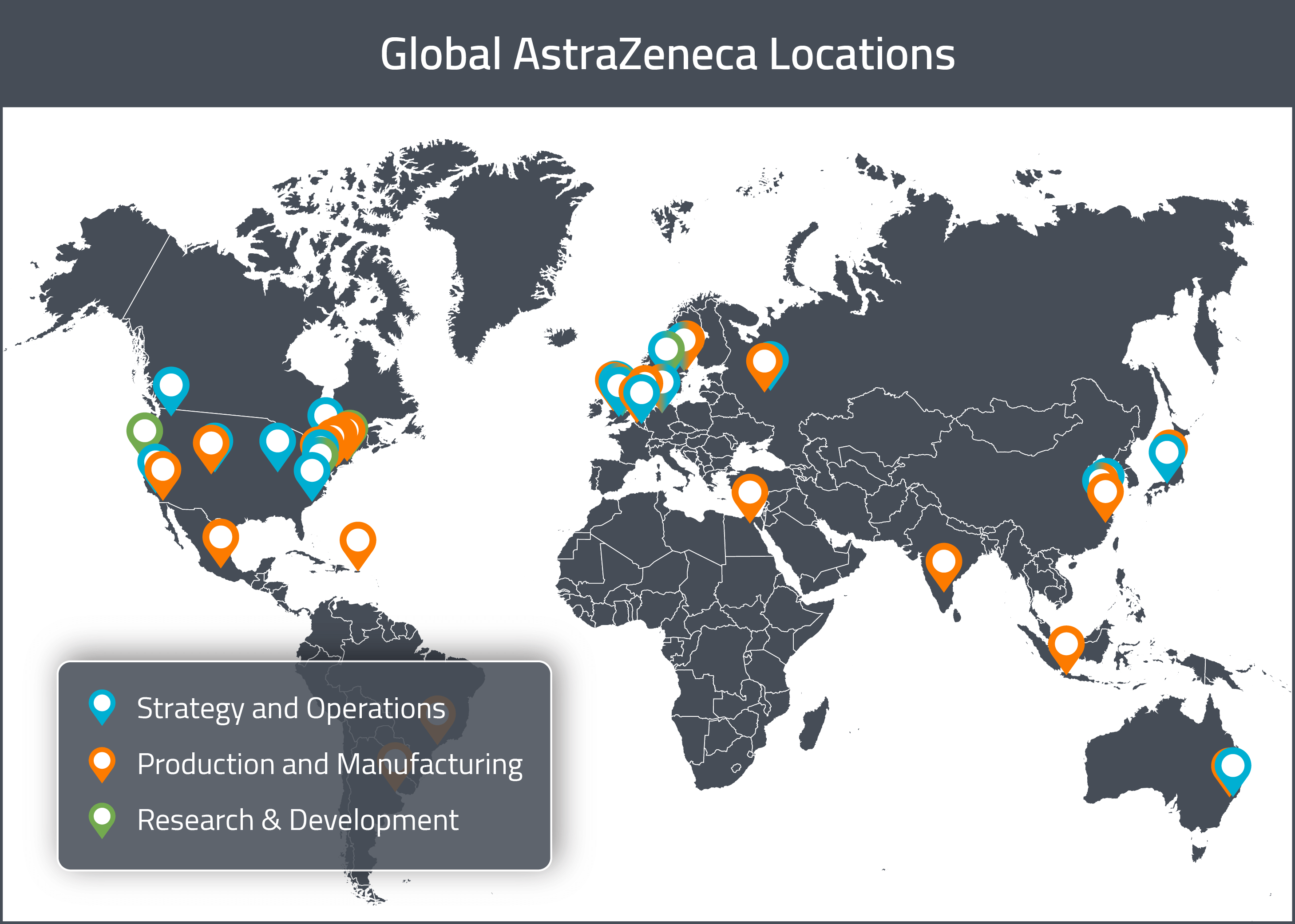 A map of AstraZeneca's global drug development locations