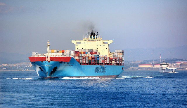 Maersk cargo ship sailing
