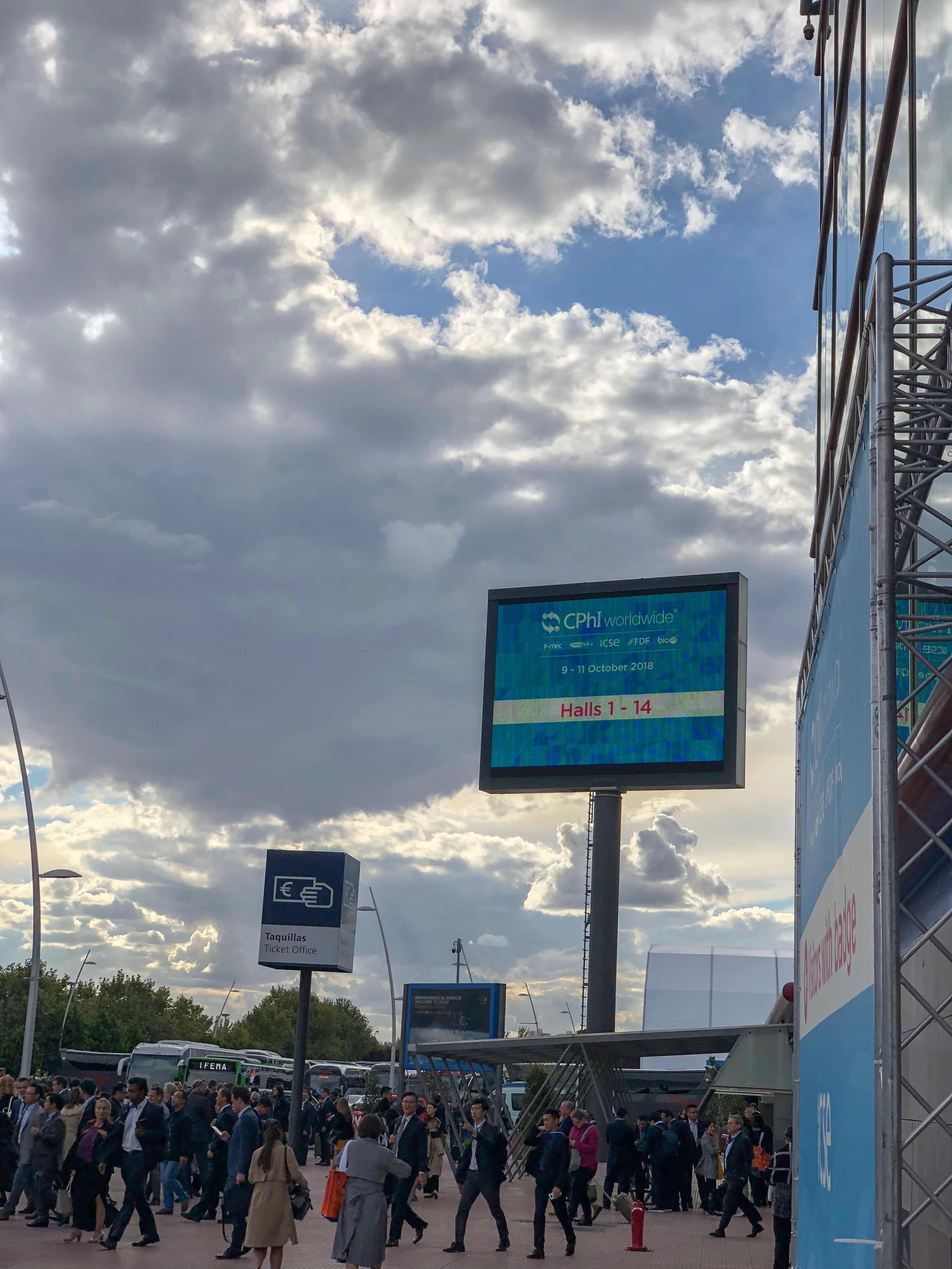 Large billboard sign at IFEMA Madrid for CPhI Worldwide 2018 Conference