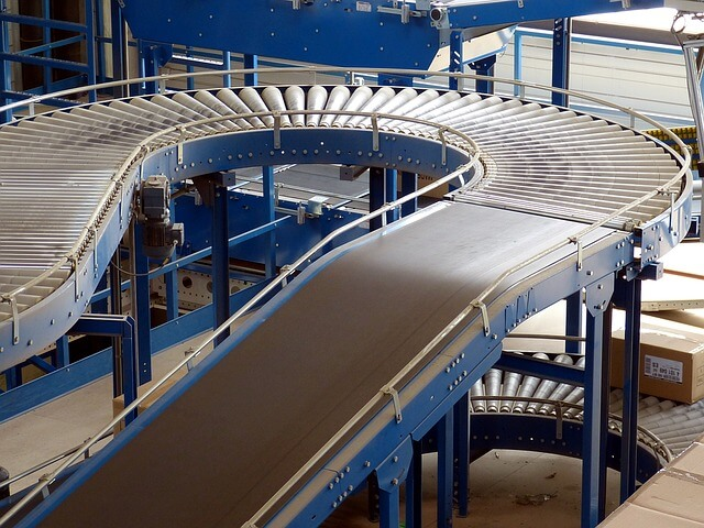 A conveyer belt in a factory