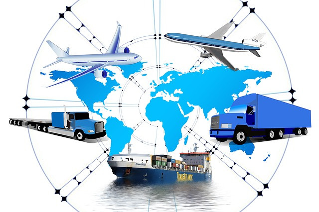 Global logistics diagram with planes trucks and ships