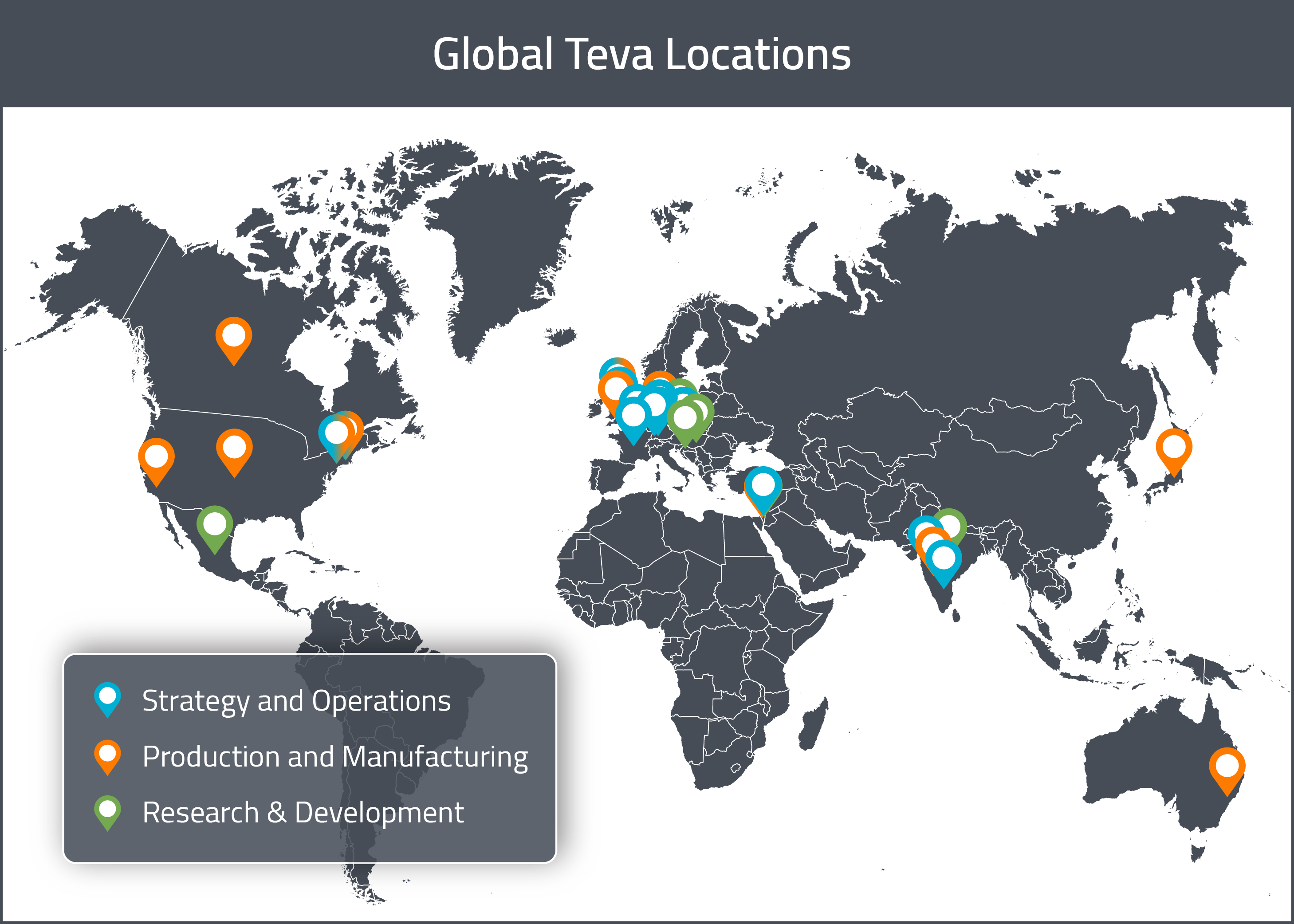 A map of Teva Pharmaceuticals' Global Drug Development and Manufacturing locations