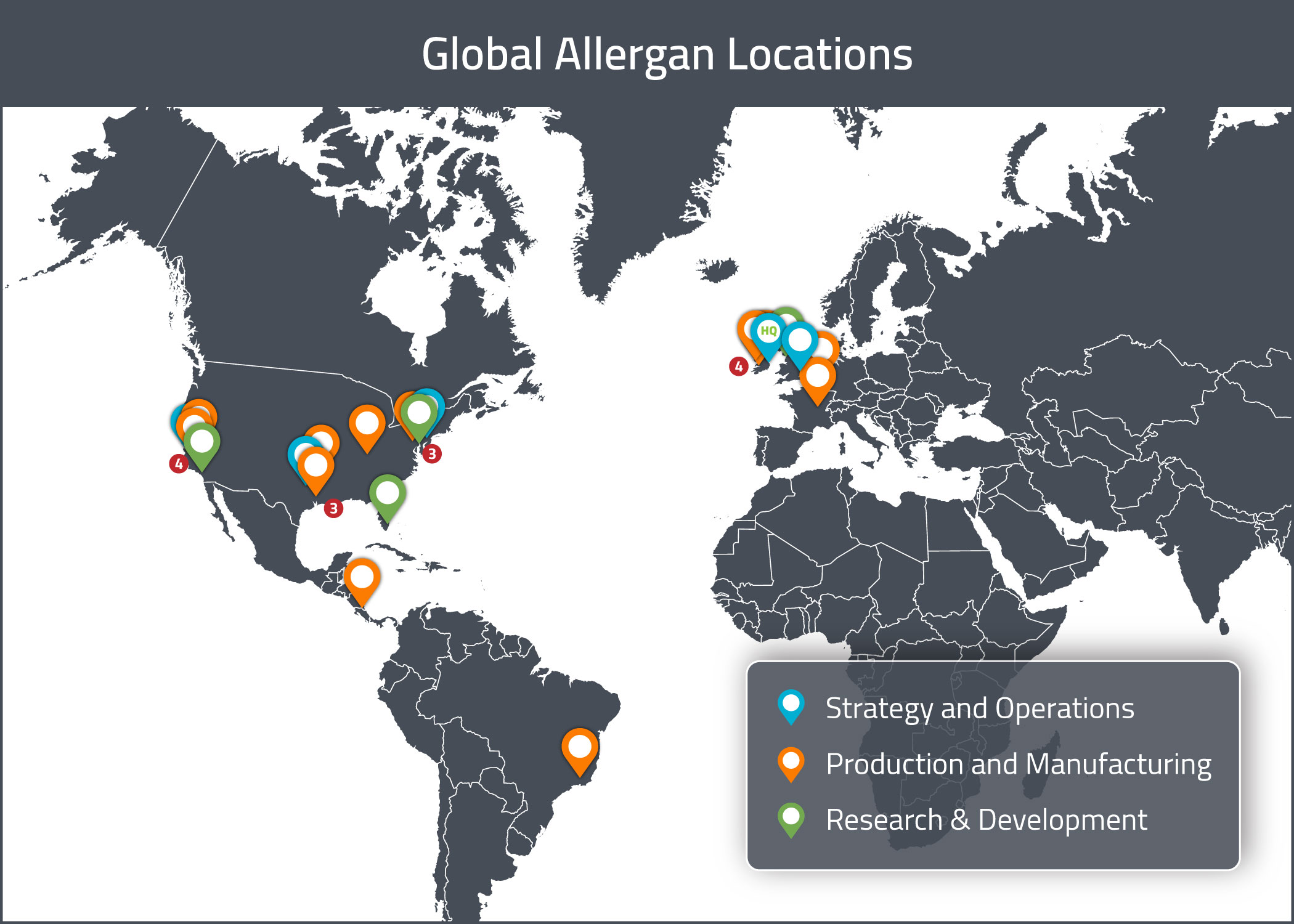 A visual map of Allergan's global offices and locations