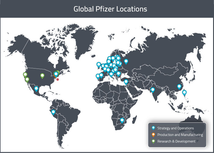 Map of Pfizer's global locations