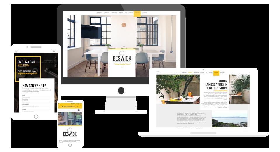 Responsive website design for builder mock up devices
