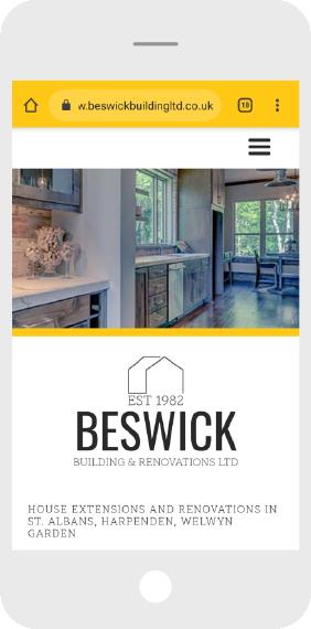 Mobile screen shot of construction website design