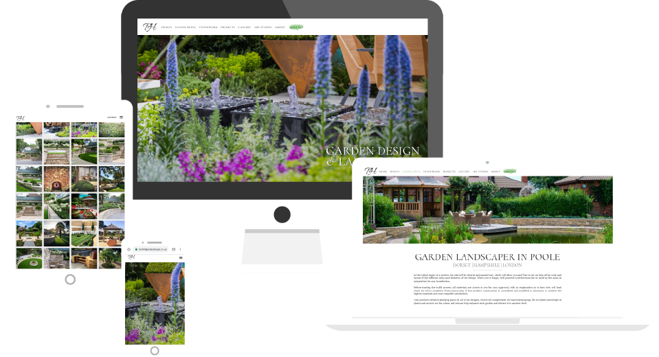 Garden Designer website on multiple devices