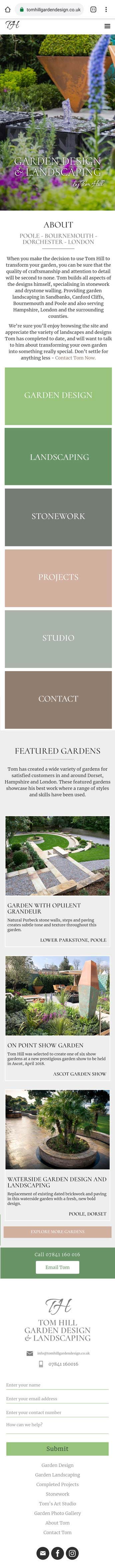 Gardener website design mobile screen shot image