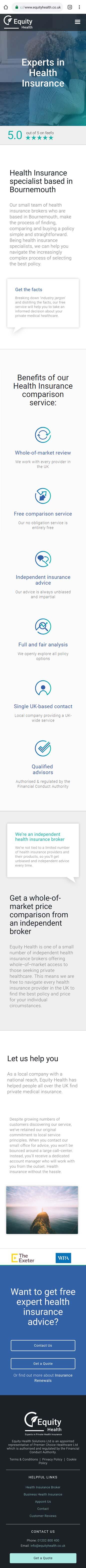 Insurance industry mobile website design