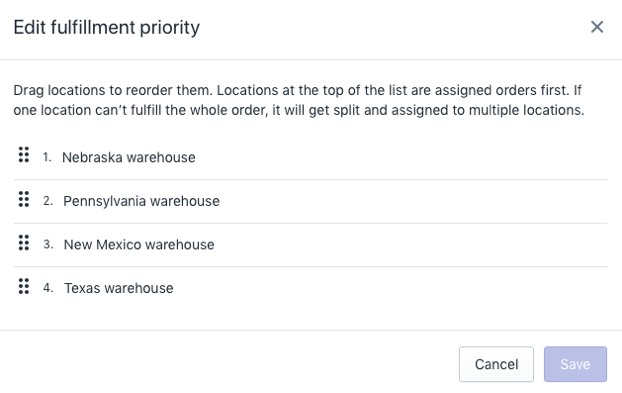 Shopify location fulfillment priority