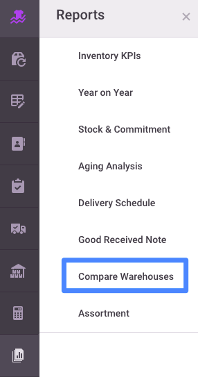 First click Reports from the left menu, then Compare Warehouses.