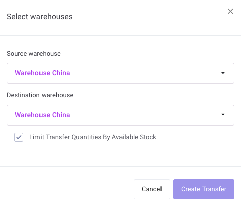 select your Source warehouse