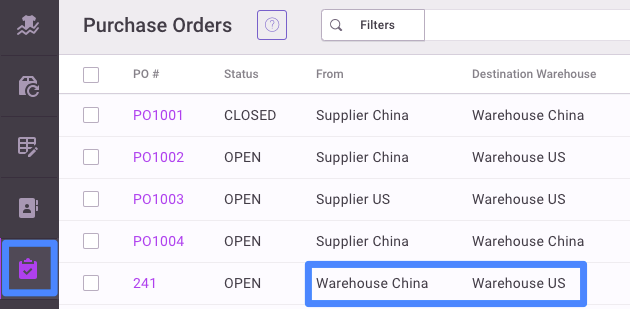 On the Purchase Order dashboard, you can now see the transfer listed.